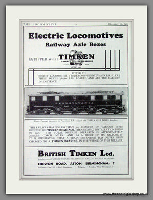 British Timkin Railway Axle Boxes for Electric Locomotives. Original Advert 1933 (ref AD53301)