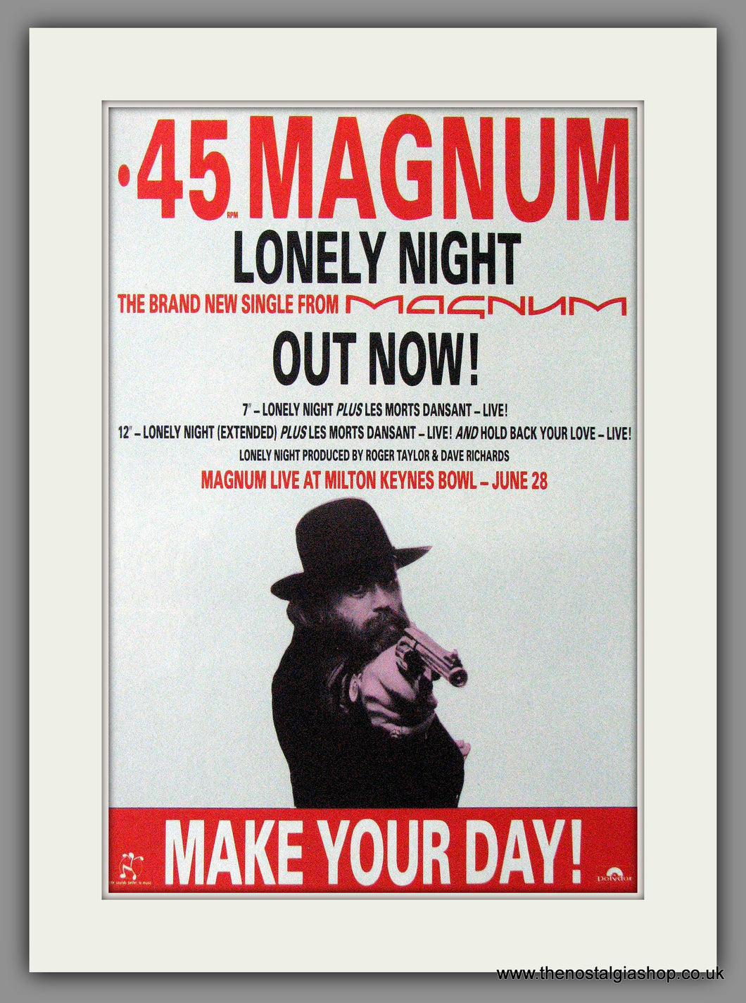 Magnum. Lonely Night. 1986 Original Advert (ref AD53972)