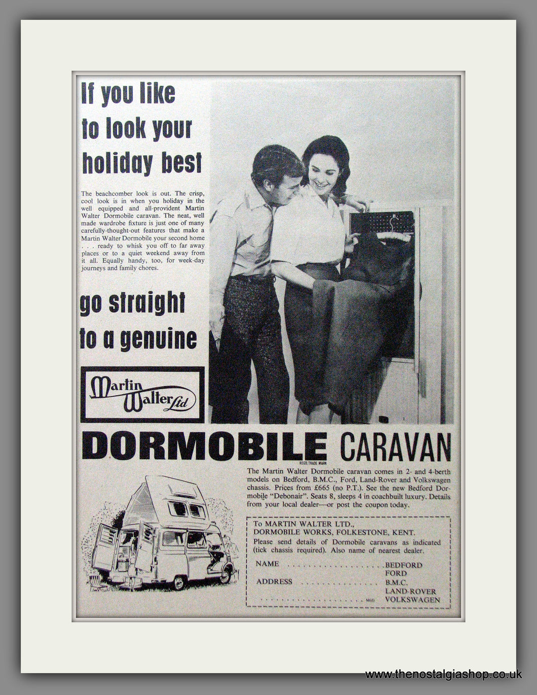Dormobile Caravan. 1965 Original Advert (ref AD53860)