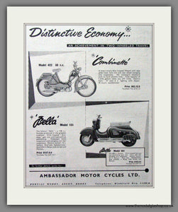 Bella Scooter and Combinette Original Advert 1956 (ref AD54252)