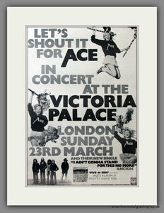 Ace. In Concert at the Victoria Palace. Original Advert 1975 (ref AD11562)