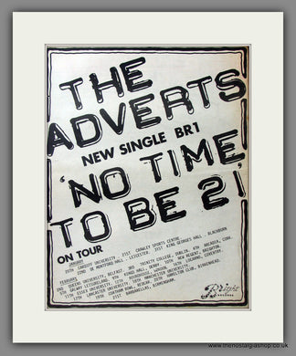 Adverts (The) No Time To Be 21. UK Tour Dates. Original Advert 1978 (ref AD11566)