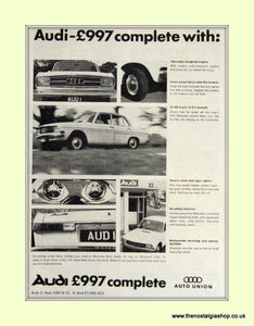 Audi Auto Union Vintage Advert 1967 (ref AD6953)