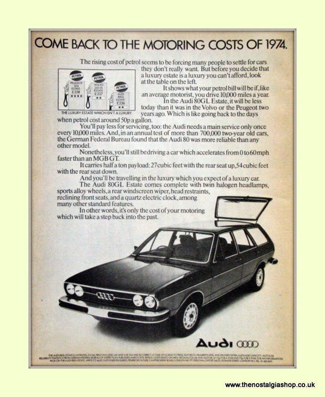 Audi 80GL Estate Vintage Original Advert 1976 (ref AD6969)