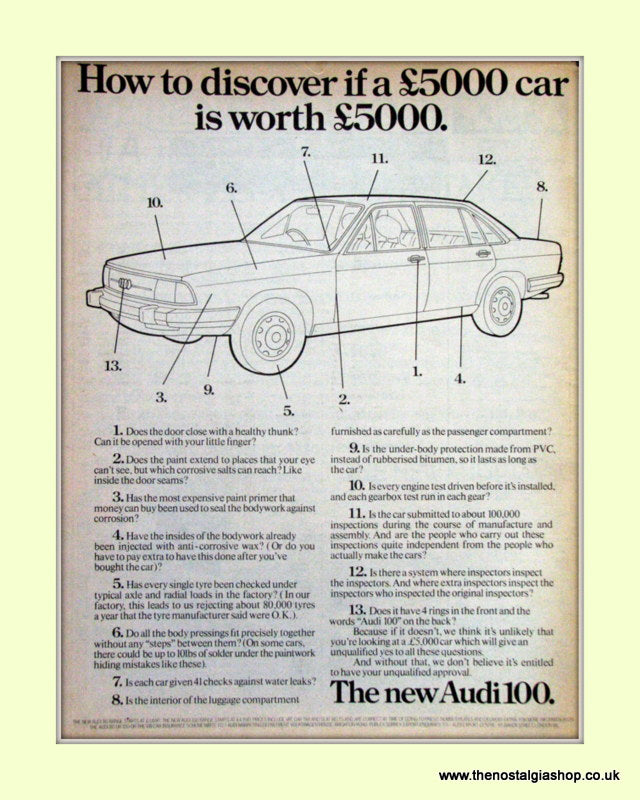 Audi 100 Vintage Original Advert 1977 (ref AD6973)