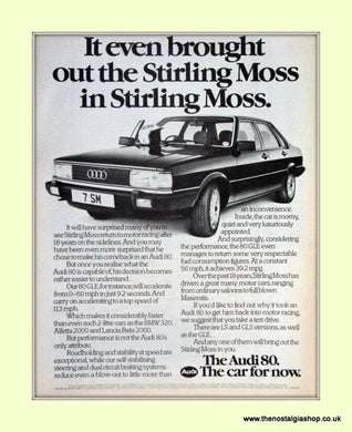 Audi 80 And Sterling Moss Vintage Original Advert 1981 (ref AD6977)