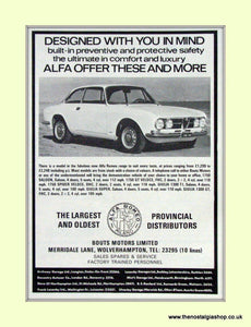 Alfa Romeo 1750 Coupe. Bouts Motors.Dealership Original Advert 1968 (ref AD50001)