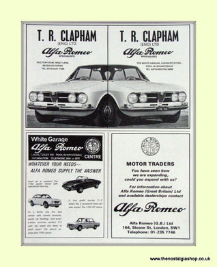 Alfa Romeo 1750 Coupe. T.R. Clapham. Dealership Original Advert 1968 (ref AD50002)