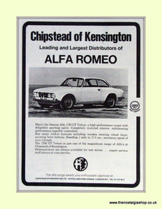 Alfa Romeo 1750 GT Veloce. Chipstead of Kensington. Dealership Original Advert 1968 (ref AD50008)