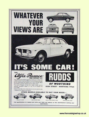 Alfa Romeo 1600 Sprint GT. Rudds of Worthing. Dealership Original Advert 1965 (ref AD50016)