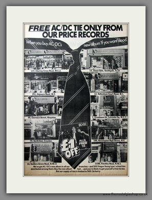 AC DC, If You Want Blood + Free Tie Offer. Original Advert 1978 (ref AD11629)
