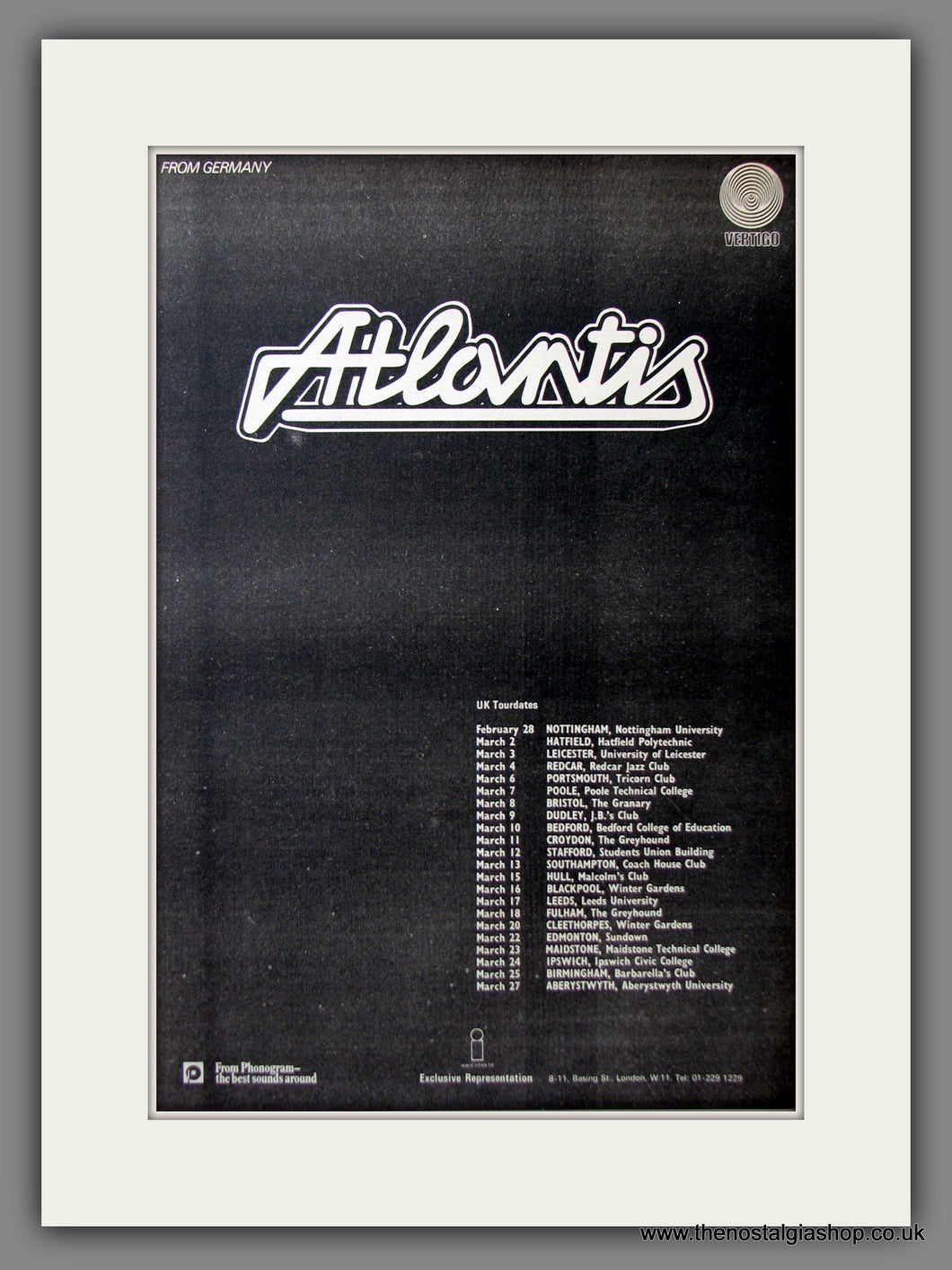 Atlantis, UK Tour Dates. Original Advert 1973 (ref AD11634)