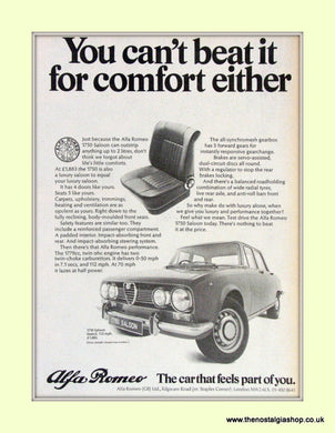 Alfa Romeo 1750 Saloon. Original Advert 1971 (ref AD50032)
