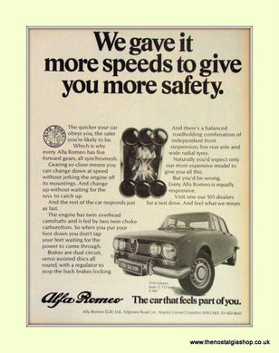 Alfa Romeo 1750 Saloon. Original Advert 1971 (ref AD50033)