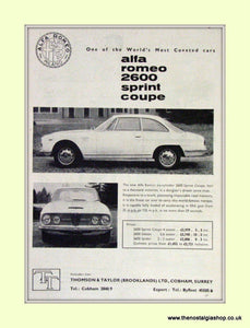Alfa Romeo 2600 Sprint Coupe. Original Advert 1962 (ref AD50034)