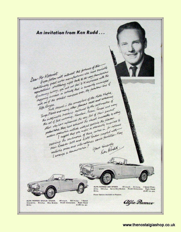 Alfa Romeo Ken Rudd Invitation. Original Advert 1964 (ref AD50038)