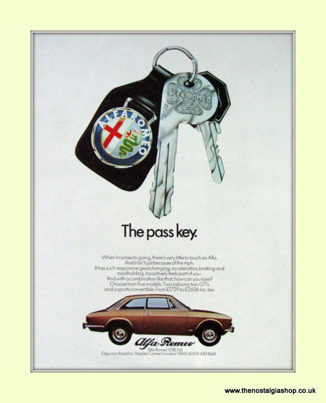 Alfa Romeo. The Pass Key. Original Advert 1973 (ref AD50063)