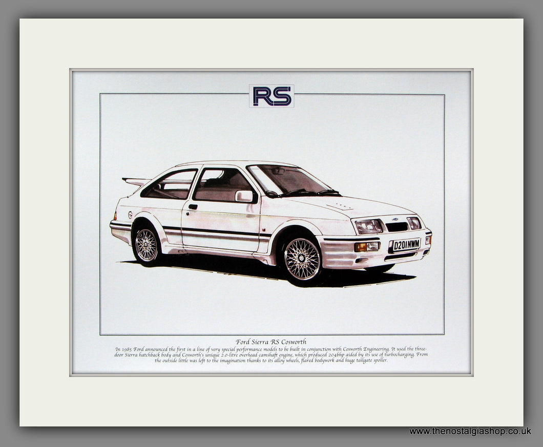 Ford Sierra RS Cosworth. Mounted Print.