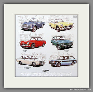 Sunbeam Cars. Mounted Print.