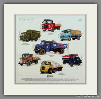 British Lorries 1950's.  Mounted Print.