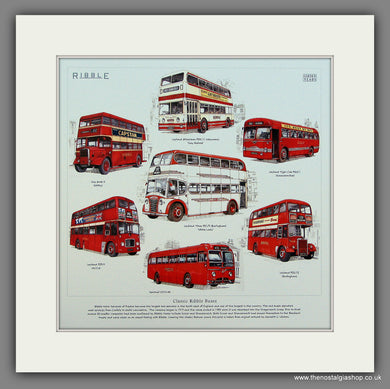 Buses, Classic Ribble Buses. Mounted Print.