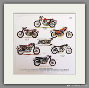 Triumph Motorcycles Mounted Print 1960-70