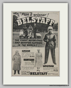 Belstaff Scooter Clothing.  Original Advert 1959 (ref AD6816)