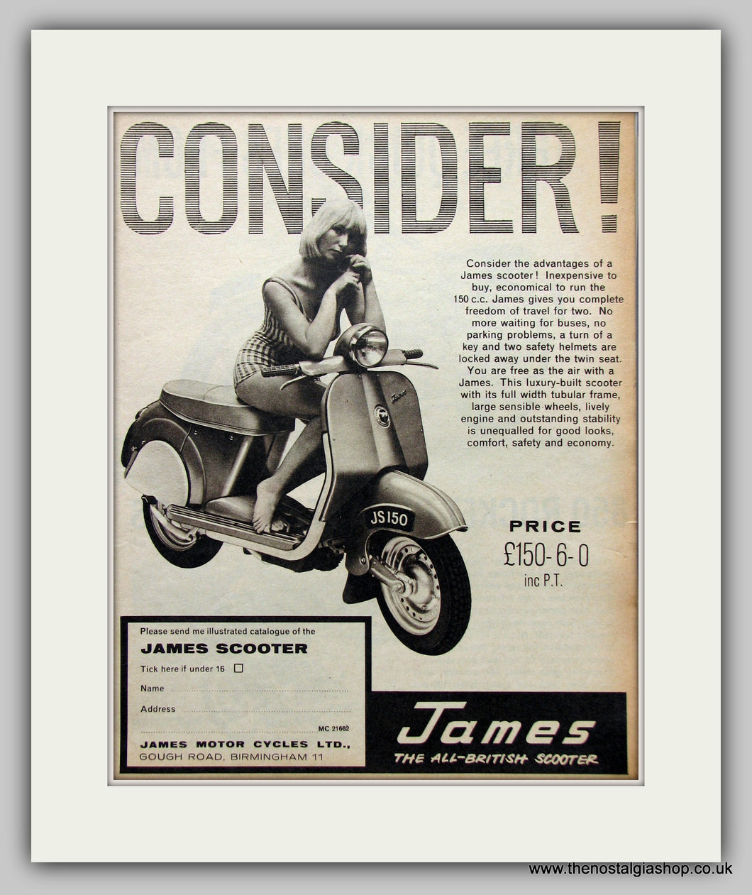 James 150cc Scooter 1962 Original Advert (ref AD6819)