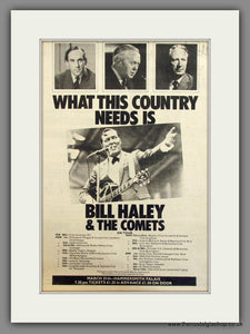 Bill Haley & The Comets. UK Tour. Original Advert 1974 (ref AD11692)