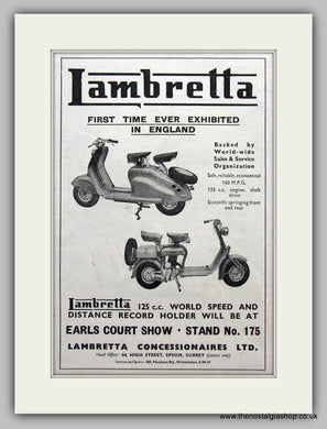 Lambretta Scooter Earls Court Show Original Advert 1951 (ref AD6802)