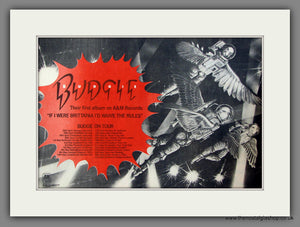 Budgie, If I Were Brittania I'd Waive The Rules, On Tour. Original Advert 1976 (ref AD11712)