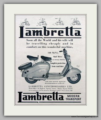 Lambretta Scooter  Original Advert 1952 (ref AD6808)