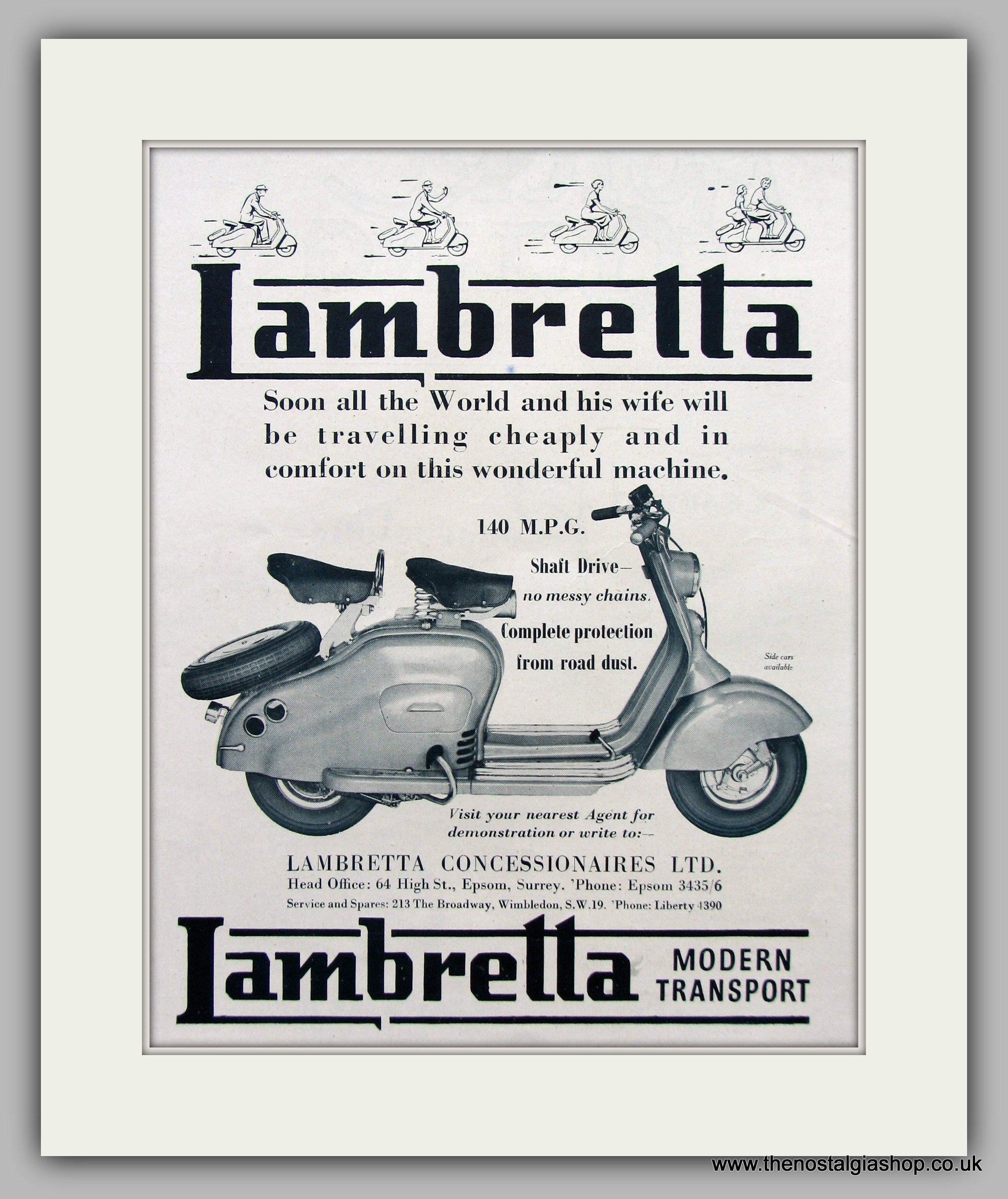 "LAMBRETTA SCOOTER RETRO POSTERS 14/"" BY 11/"" PICTURE MOUNTED READY TO FRAME"