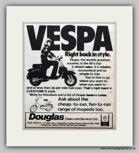 Vespa Scooters Back in Style. 1980 Vintage Advert (ref AD6845)
