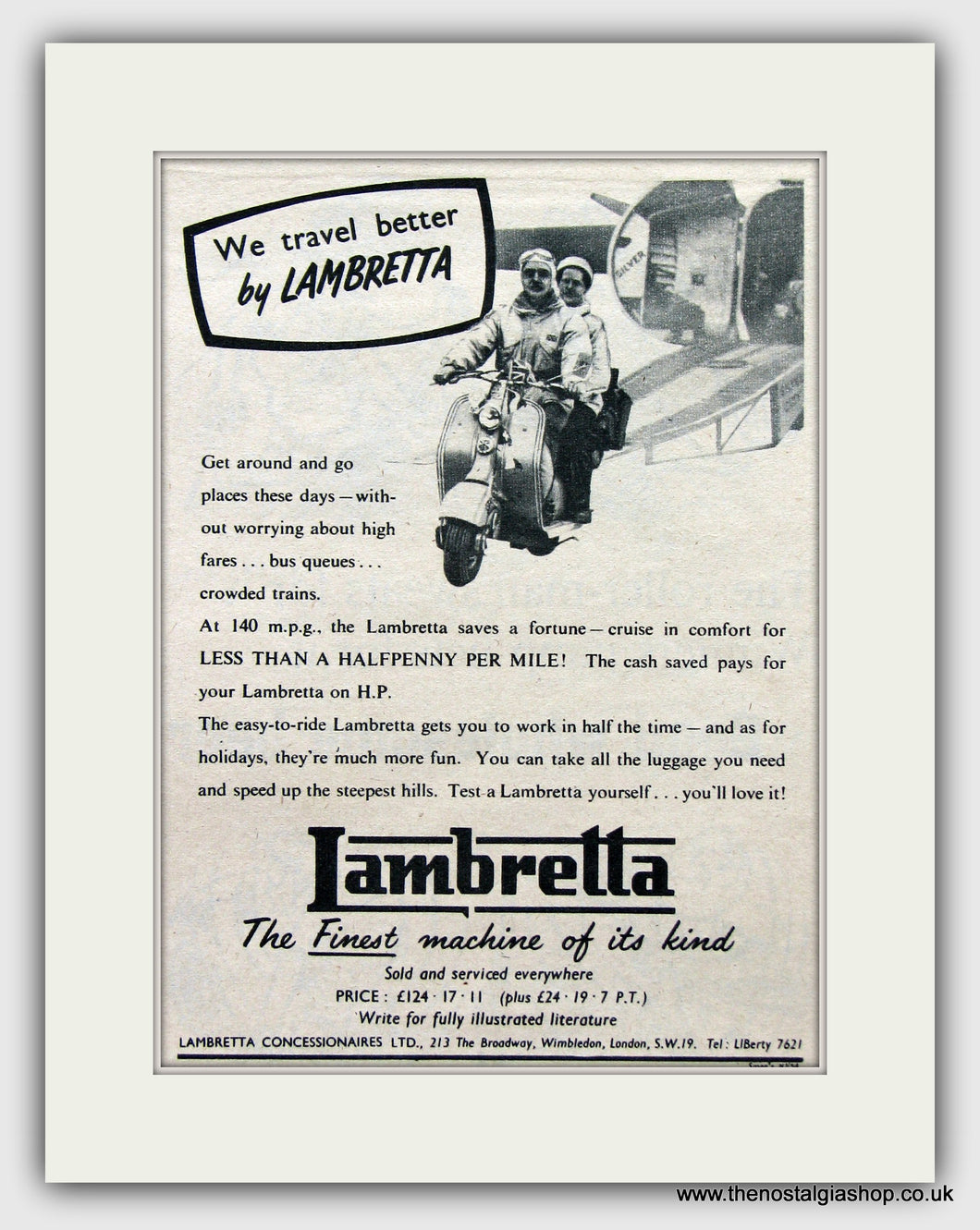 Lambretta Scooters Set of 3 Vintage Adverts 1954,55,56 (ref AD6846)