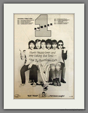 Boomtown Rats, Seasonal Turkey Tour. Original Advert 1978 (ref AD11724)
