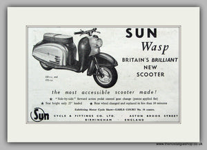 Sun Wasp Scooter  1958 Original advert (ref AD6839)