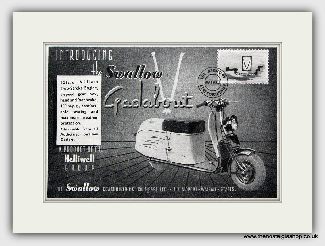 Swallow Gadabout Scooter. 1947 Original advert (ref AD6842)