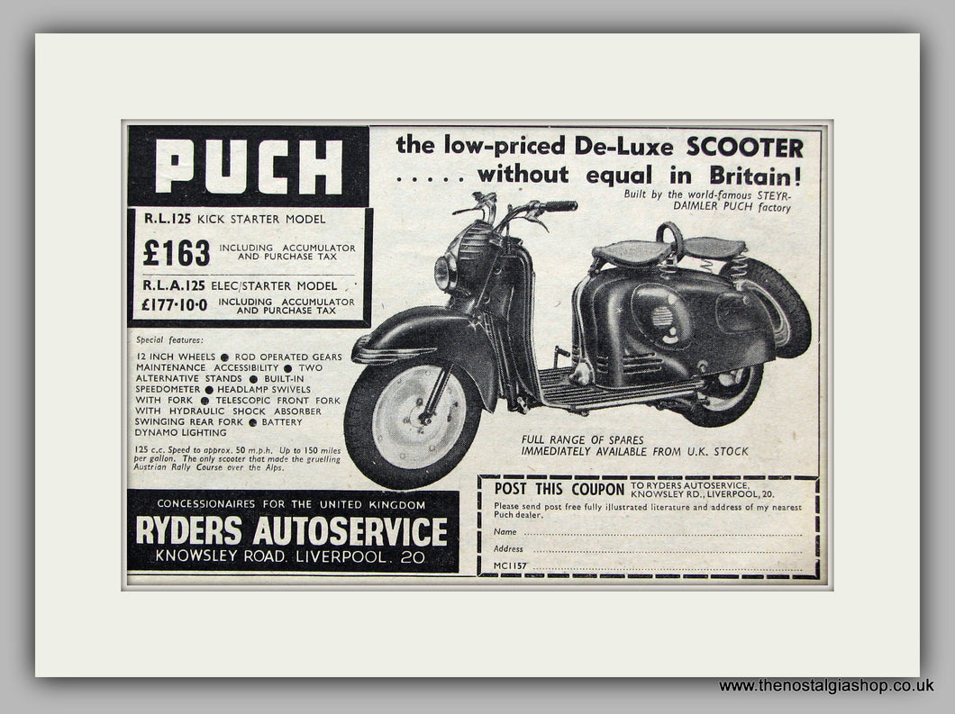 Puch Scooter 1957 Original advert (ref AD6840)