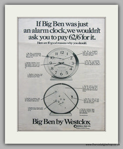 Westclox Big Ben Clocks. Original Advert 1969 (ref AD6871)