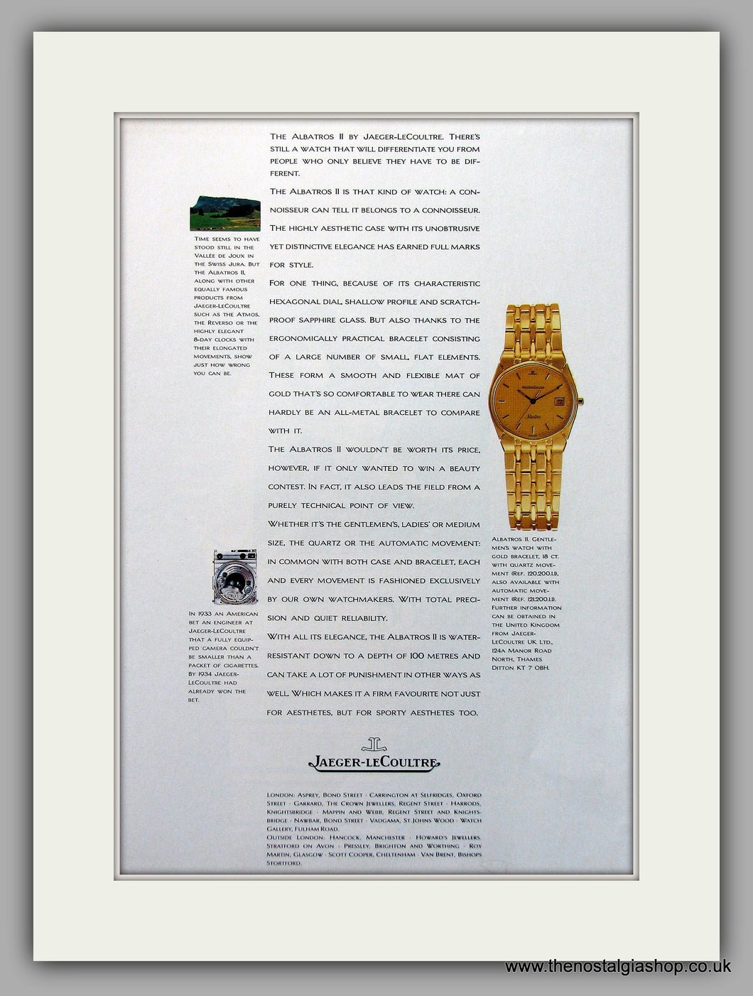 Jaeger-LeCoultre Albatros II Watch Original Advert 1986 (ref AD6920)