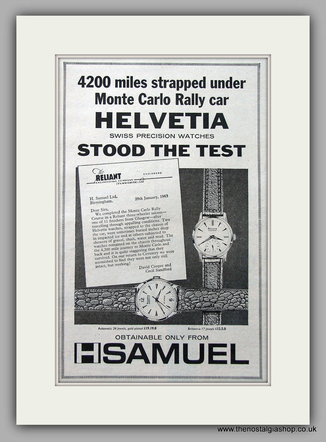 H Samuel Helvetia Watches Monte Carlo Rally Original Advert 1963 (ref AD6929)