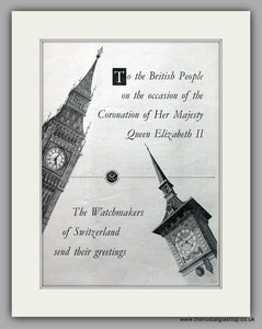 Watch Makers Of Switzerland And Coronation Of The Queen  Original Advert 1953 (ref AD6939)