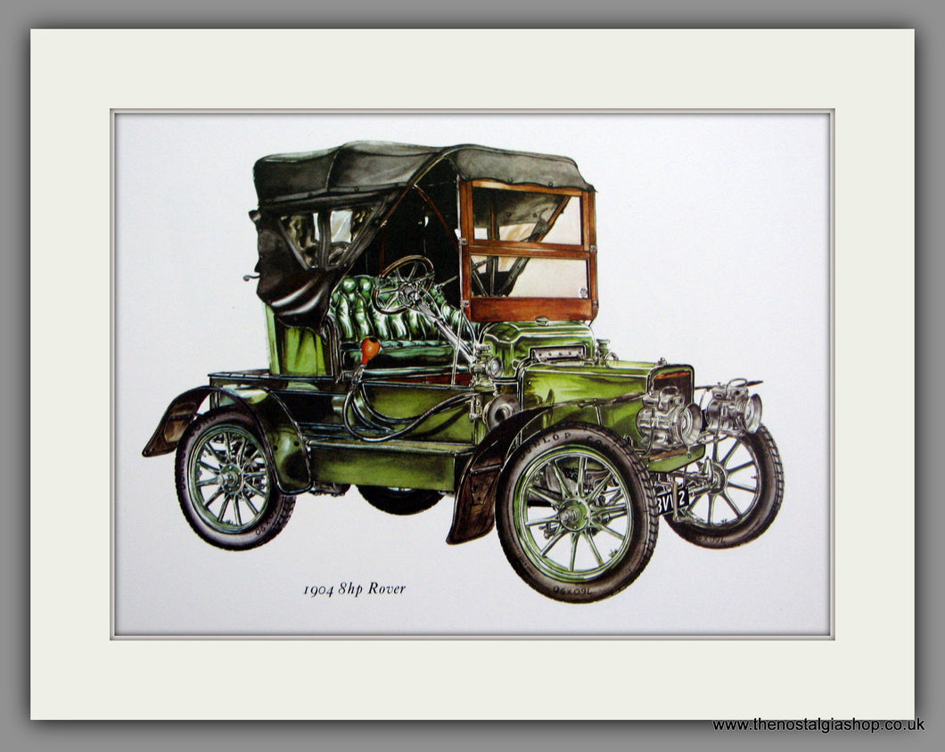 Rover 8hp 1904. Mounted Print.