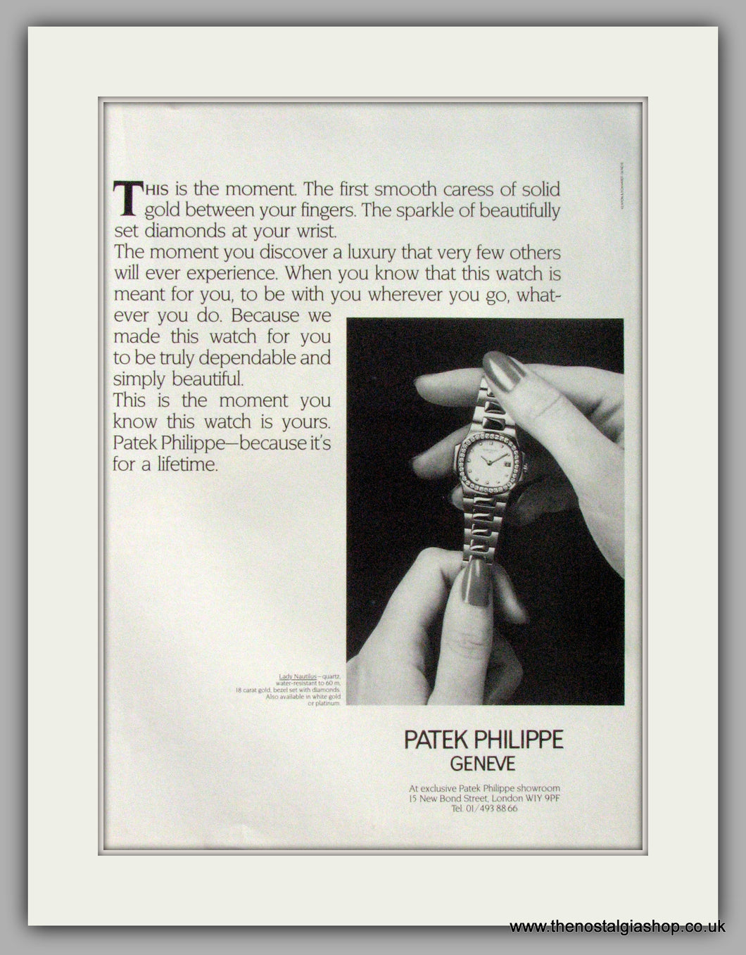 Patek Philippe Geneve Watches. Original Advert 1986 (ref AD7996)