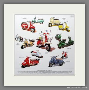 Scooters Of The 1950's & 60's Mounted Print