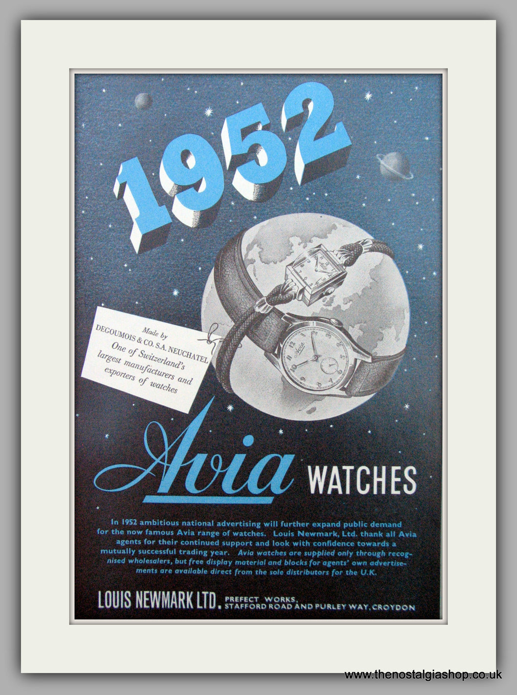 Avia Ladies  Watches.  Original Advert 1952.  (ref AD7322)