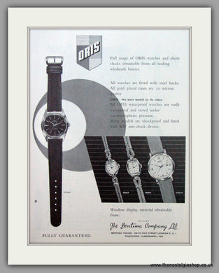 Oris Swiss Watches. Original Advert 1961.  (ref AD7363)