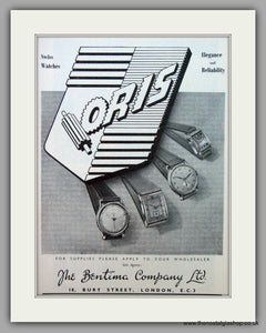 Oris Swiss Watches. Original Advert 1949.  (ref AD7365)