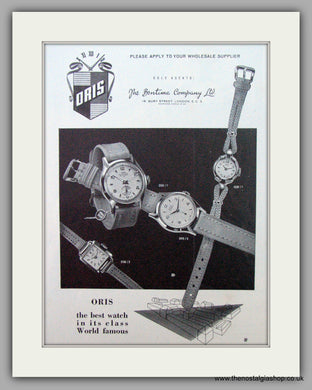 Oris Swiss Watches. Original Advert 1957.  (ref AD7367)